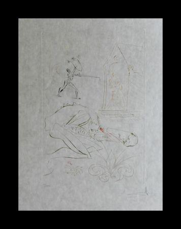 Gravure Dali -  La Quete du Graal Fight Before la Dame de Malehout