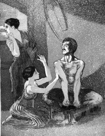 Eau-Forte Et Aquatinte Klinger - La ragazza e il tiratore