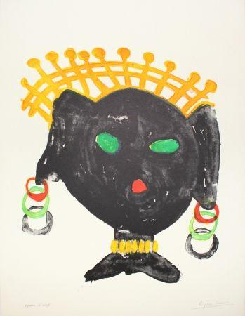 Lithographie Ionesco - La reine noire