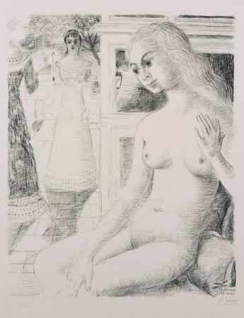 Lithographie Delvaux - La rencontre