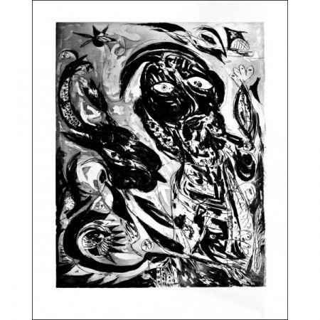 Aquatinte Pedersen - La  Reve de la licorne