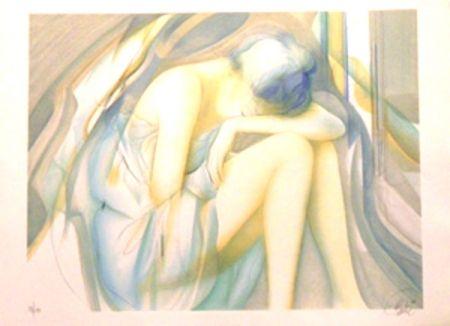 Lithographie Valadie - La reveuse