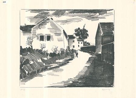 Lithographie Vlaminck - La route de Nesles