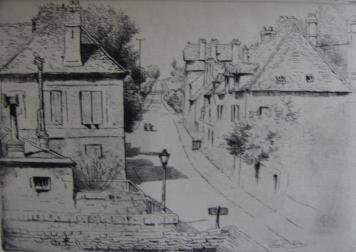 Gravure Delatre - La rue de Paris, à Rozoy-en-Brie