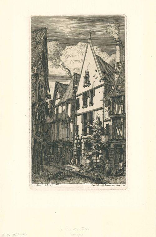 Gravure Meryon - La rue des Toiles, à Bourges