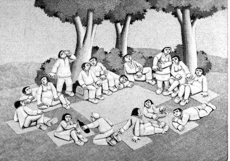 Gravure Sur Bois Morena - La scampagnata