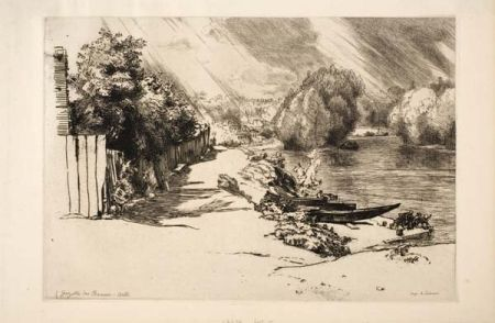 Gravure Bracquemond - La Seine au bas Meudon
