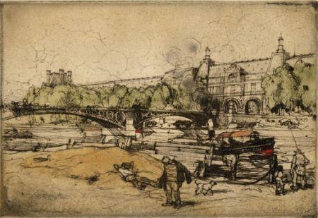 Eau-Forte Et Aquatinte Coussens - La Seine au Pont du Carrousel