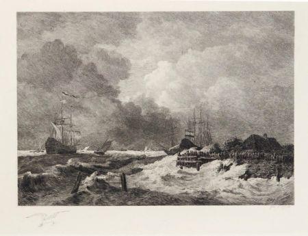 Gravure Huet - La tempête (The Storm) [with] Brisants, Granville (Breakers, Granville)