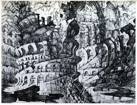 Gravure Desmazières - La Tour de Babel