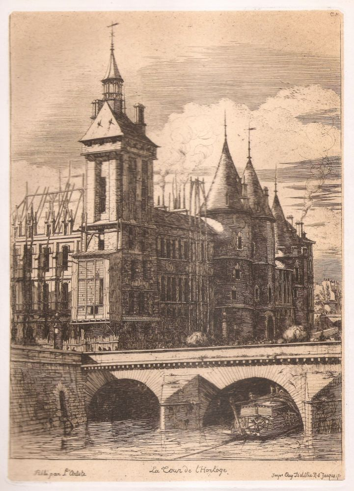Gravure Meryon - La tour de l'horloge / The Clock Tower