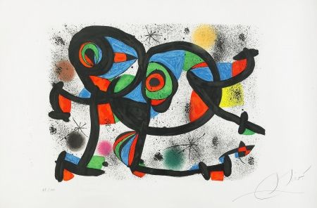 Lithographie Miró - La Triple Roue I