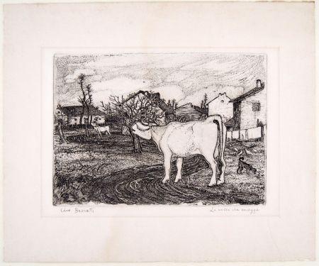 Gravure Bozzetti - LA VACCA CHE MUGGE (The mooing cow), second version