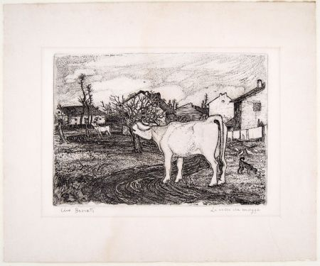 Gravure Bozzetti - LA VACCA CHE MUGGE (The mooing cow), second version