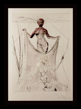 Gravure Dali -  La Venus Aux Fourrures Woman Holding Veil