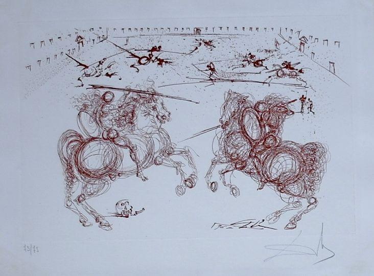 Gravure Dali - La Vida es un Sueno Los Cabaleros (combat de cavaliers) (14)