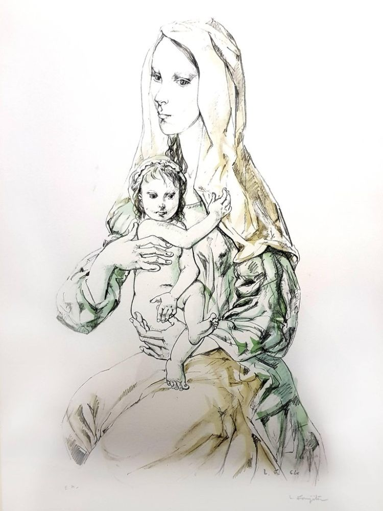Lithographie Foujita - La Vierge et l'Enfant