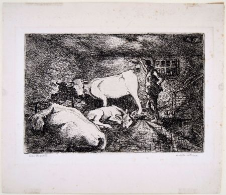 Gravure Bozzetti - LA VISITA NOTTURNA (Visiting the stable in the night)