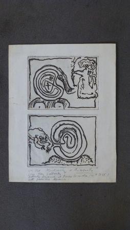 Gravure Alechinsky - Labyrhinte et reine ,crapaud et labyrinthe