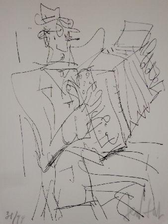 Lithographie Paul  - L'accordéoniste