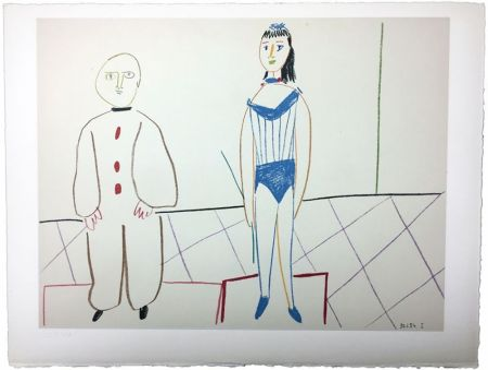 Lithographie Picasso - L'Acrobate et le Clown (de La Comédie Humaine - Verve 29-30. 1954).
