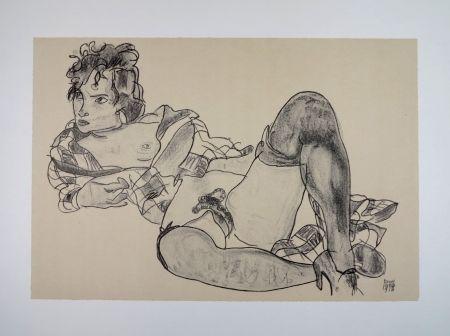Lithographie Schiele - L'AGUICHEUSE / THE SEDUCTIVE GIRL - 1918