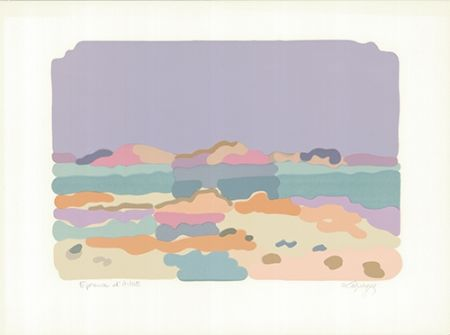 Lithographie Lapicque - Lagune bretonne