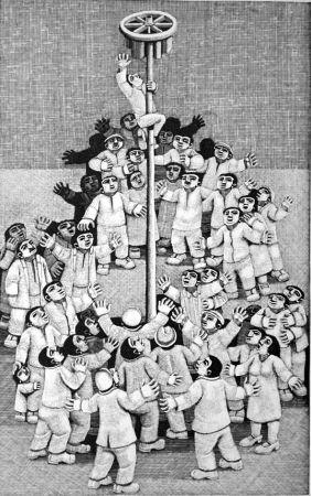 Gravure Sur Bois Morena - L'albero della cuccagna