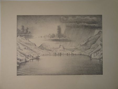 Lithographie Stöcklin - Landschaft bei Morcote.