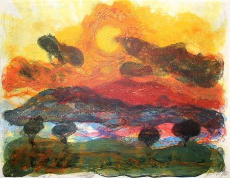 Lithographie Kruck - Landschaft mit Pinen