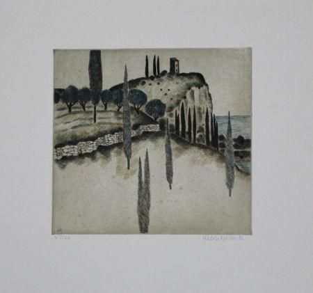 Eau-Forte Et Aquatinte Breiter - Landschaft mit Zypressen / Landscape with Cypresses