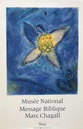 Lithographie Chagall - '' L'Ange au Chandelier ''