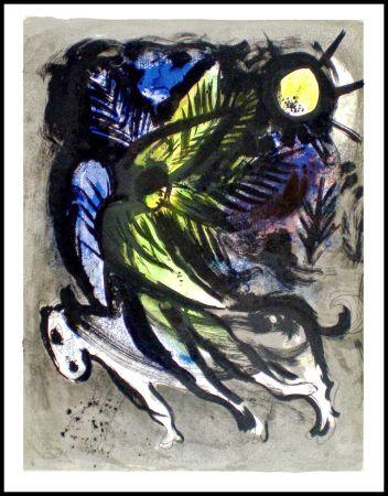 Lithographie Chagall - L'ANGE SURVOLANT LA FORET