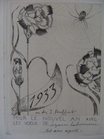 Gravure Laboureur - L'araignée aux fleurs