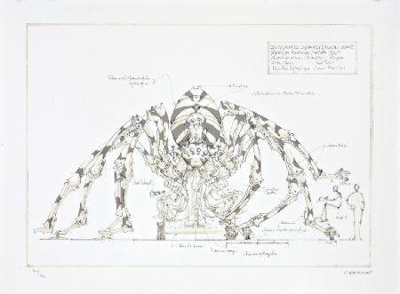 Lithographie Delarozière - L'araignée géante