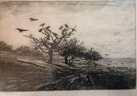 Eau-Forte Daubigny - L'arbre aux corbeaux