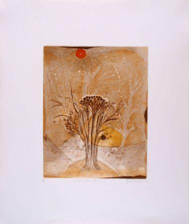 Eau-Forte Et Aquatinte Carcan - L'arbre fleur 2 (Receuil : Les arbres en vacances)