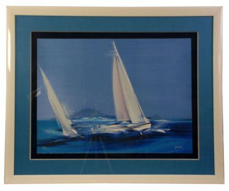 Lithographie Spahn - Large l'île