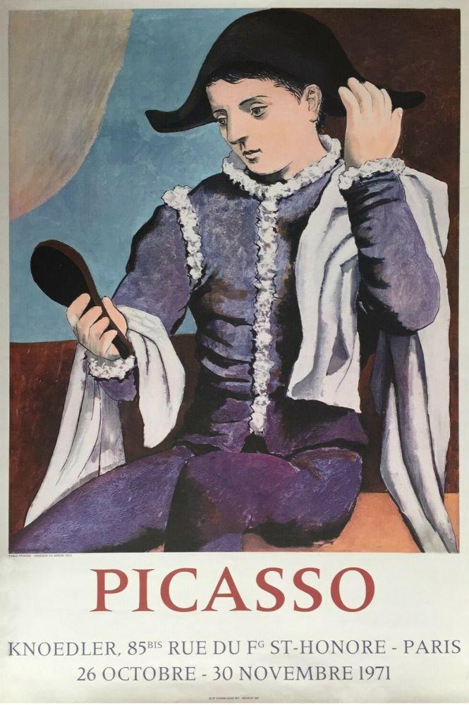 Lithographie Picasso - '' L'Arlequin au Miroir ''