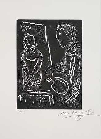 Linogravure Chagall - L'atelier