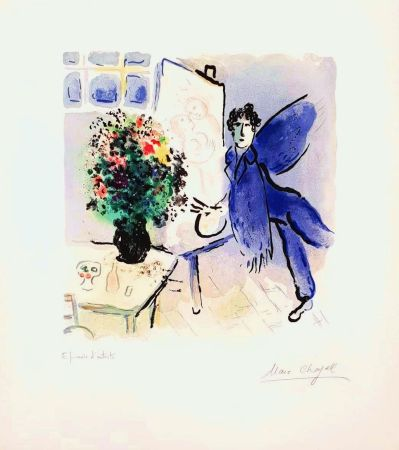 Lithographie Chagall - L'atelier Bleu, The Blue Studio