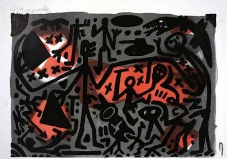 Lithographie Penck - Lausanne 3 Kämpfer