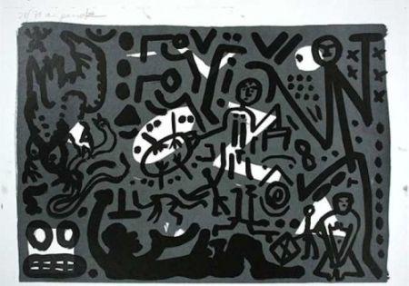 Lithographie Penck - Lausanne 4 Hände auf den Tisch