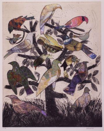 Lithographie Valdés - Le arbre aux oiseaux
