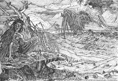 Eau-Forte Bozzetti - Le Arpie del lago Stinfalio