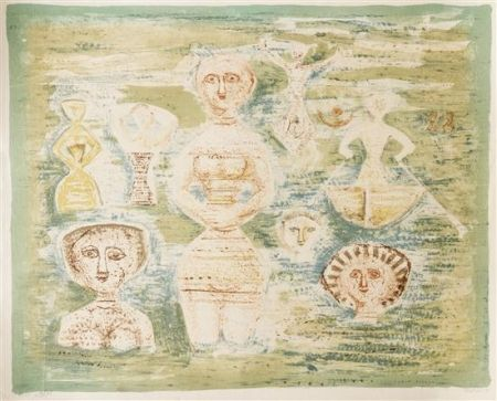 Lithographie Campigli - Le Bagnanti