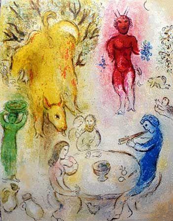 Lithographie Chagall - Le banquet de Pan