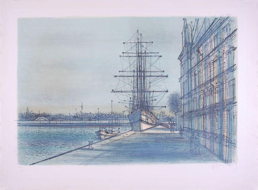 Lithographie Carzou - Le Bateau école à Venise