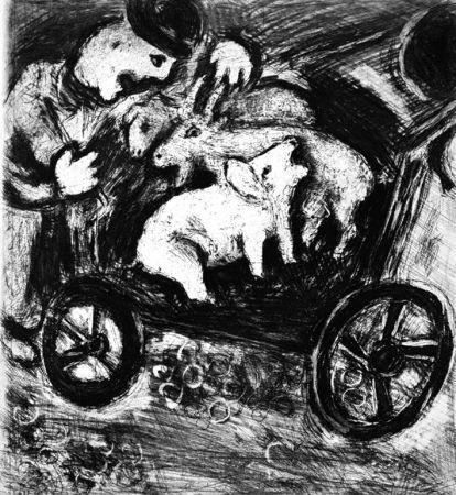 Eau-Forte Chagall - Le Berger et son Troupeau