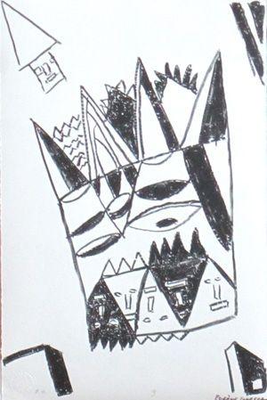 Lithographie Ionesco - Le blanc et le noir 9